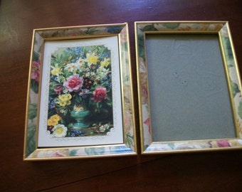 TWO  picture frames golden w pink flowers Shabby Chic on sale