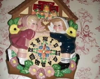 Folk Art Wall Clock OOAK Ceramic Boy Girl , Flowers Shabby Chic on Sale