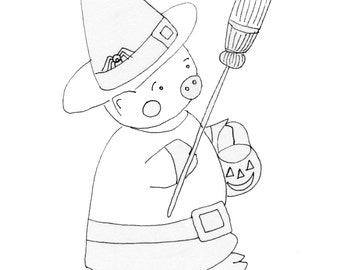 Witchy Piggy, digital coloring page
