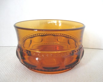 King's Crown Amber Thumbprint Finger Bowl