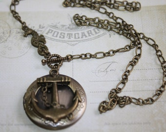 Anchor Locket Necklace Anchor Jewelry Photo Locket, Locket Anchor Necklace charm, Seahorse Necklace, Nautical Jewelry