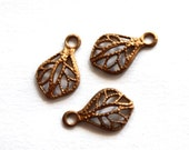 3 Vintage 1960s Mini Leaves Pendant // Filigree Leaf Stamping // 50s 60s Spade Leaf Finding //  NOS Craft Jewelry Supply