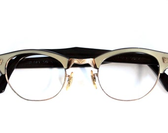 1950s Catseye Eyeglasses // 50s 60s Vintage Frames //  12k GF // Can Op