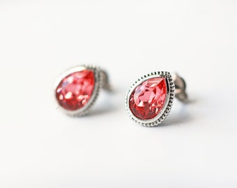 Rose Peach Swarovski Crystal Titanium Studs Pear Shape Silver Bezel Simple Minimalist Earrings