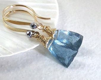 Aquamarine Earrings, Teal Blue Aquamarine Earrings, Gold Earrings, Aquamarine Gemstone, Petite Dangle, March Birthstone - Tidewaters