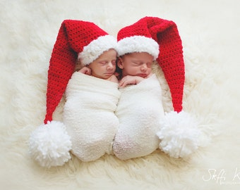 Kids Christmas Outfit Hats - Newborn Christmas Hats - Newborn Christmas - Boy and Girl Twin Christmas Hats - Twin Christmas Hats