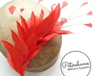 Stripped Diamond Coque & Goose Feather Wired Millinery Hat Mount - Red