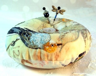 Reserved for Dianne- Pincushion, Songbird, Hand embroidered with Emery, Made to Order