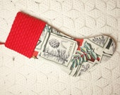 Festive Botanical Sketches Mid Century Barkcloth Christmas Stocking with Vintage Chenille Cuff