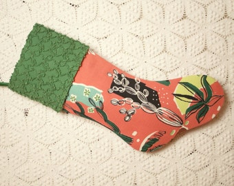 Southwestern Style Mid Century Vintage Barkcloth and Vintage Chenille Christmas Stocking