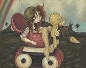 Tank girl lowbrow misfit fine art pop surreal print - War games send in the artillery 2