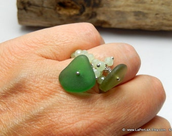 MERMAID's Tear Ring - GREENS - Adjustable Ring with Genuine Natural Amalfi Sea Glass