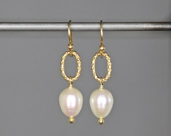 Pearl and Gold Earrings - Freshwater Pearl Earrings - Gold Vermeil Earrings - White Pearl Dangle Earrings - Wedding Jewelry - Jewelry Gift