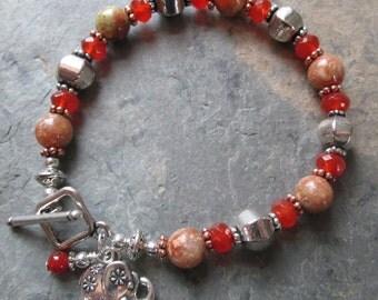 Carnelian & Jasper Charm Bracelet ~ Elephant Charm ~ Bohemian Style Jewelry