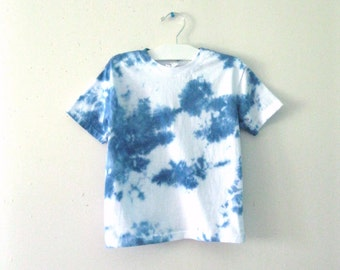 Hand dyed Blue SKY and Clouds children's DREAMER tee / Boho Hipster Hippie baby t shirt / Handmade blue sky clouds toddler shirt