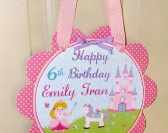 Princess Birthday Door Sign, Pony, Castle, Pink,