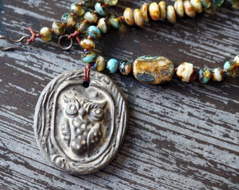 Owl Necklace - Rustic Bohemian Necklace - Brown Necklace - Woodland Owl - Ceramic Necklace - Bead Soup Jewelry