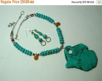 Valentine 20%Off-End 2-11 GIANT SLAB American TURQUOISE Stone Pendant 925 Silver Necklace And Earrings