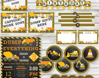 DELUXE PARTY PACK - Construction Birthday Invitation - Printable Download - Personalized Invitation - Tonka Truck Party Supplies