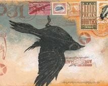 Halloween Inverted Jenny Crow Postcard