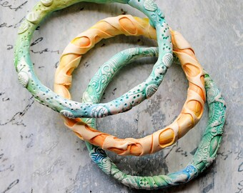 Bangles, statement bracelets, Pastel colors, polymer clay, rustic, primitive, three in this set