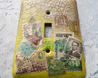 Lime Green switch plate cover, one of a kind, mixed media, collage, postage stamps, lime green, light taupe, green, brown