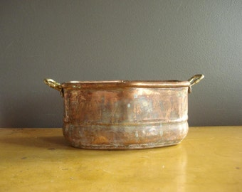 Flowers Wanted - Vintage Copper and Brass Bowl or Planter or Vase - Copper and Brass Planter or Bowl with Brass Handles