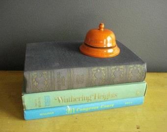 Ding Dong...  - Vintage Store or Desk Bell - Orange Metal Service Bell