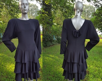 80s Dress / Little Black Dress / Ruffle Dress / Vintage Dress / 80s Party Dress by Jody California Size 12