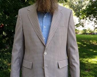 Mens 70s Plaid Pants/ 70s Costume/ 70s Suit/ Vintage Suit / Plaid Suit with Bell Bottom Pants/  Vintage Jacket by Asher
