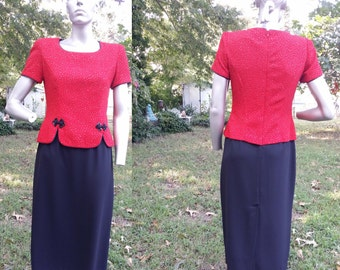 35% OFF 80s Dress /Vintage Evening Gown/ Red and Black Dress/ Vintage Dress/ Sparkly Asian Inspired Dress/by Jessica Howard Size 8-10