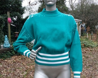 Vintage Ladies Sweaters, Womens 80s Sweater, Vintage Sweater, Graphic Sweater in Teal with Silver Stars by Meister Size L