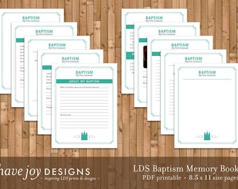 LDS Baptism Memory Book Printable, 8.5 x 11 size pages (Instant Download)