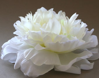Cream White Peony - Light Green and Yellow Accents - Artificial Silk Flower - Silk Flower