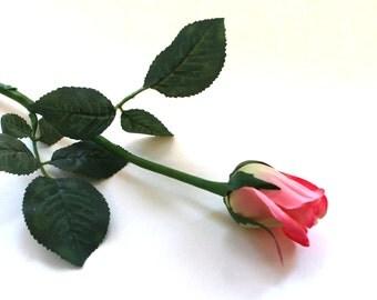 12 Dark Pink Princess Rose Buds - Barely Blooming - Artificial Flowers, Silk Roses - PRE-ORDER