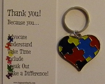 Autism Awareness Heart Keychain