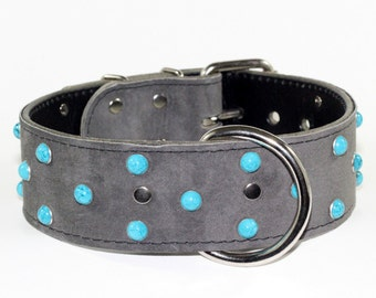 Grey Suede Leather Dog Collar - Turquoise Dog Collar - Grey Suede Leather Dog Collar With Turquoise Rivets - Suede Leather Dog Collar