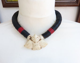 Eagle Necklace, Stone Eagle and African Trade Beads