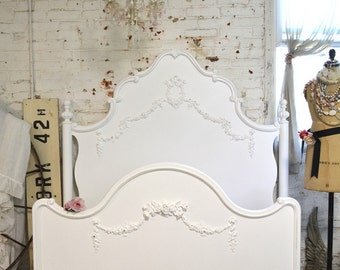 French Bed Painted Cottage Shabby Chic Deluxe French Bed Twin / Full Double
