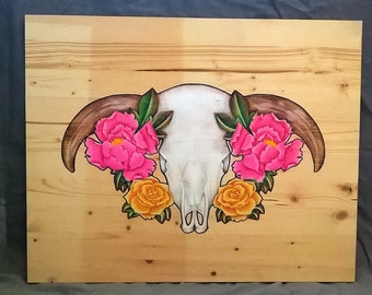 16in x 20in Original art on wood. Bull skull with roses and peonies done in acrylics, oil based pencils and ink