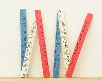 2 vintage advertising wood rulers measures