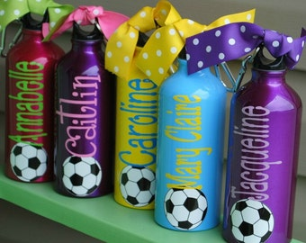 LOT OF 5 - Aluminum Water Bottle Soccer Baseball Basketball Tennis Dance Gymnastics Team Theme   Your Team Colors   Any Sport Can Be Done