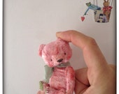 3 inch Artist Handmade Viscose Miniature Pink Pocket Sized Teddy Bear  by Sasha Pokrass