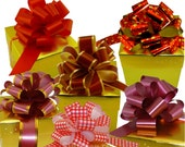 6 Christmas Gift Wrap Pull Bows Metallic Red Gold Stars Burgundy Maroon Gingham