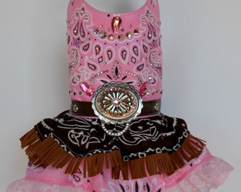 Dog Harness Dress, Western Cowgirl Bling