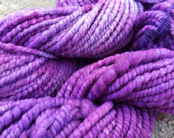 Bulky Spun Kettle Dyed 2 Ply Handspun Merino Wool Yarn - Deep Purple