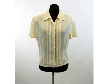 1940s silk blouse with pintuck pleats Size M