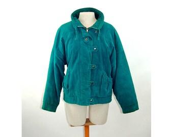1980s bomber jacket turquoise corduroy coat New York Girl Size M