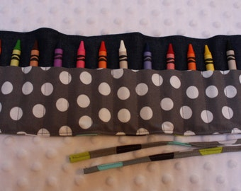Gray Crayon Roll- Crayon Holder- 16 Crayola Crayon Holder-Crayon Organizer-Kid Birthday Present-Toddler Stocking Stuffer-Gender Neutral Gift