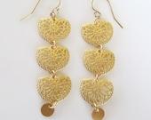 Gold Filigree Chandelier Earrings- Middle Eastern Earrings- Gold Stamped Earrings- Matte Gold Filigree Medallion Earrings- EG-F2